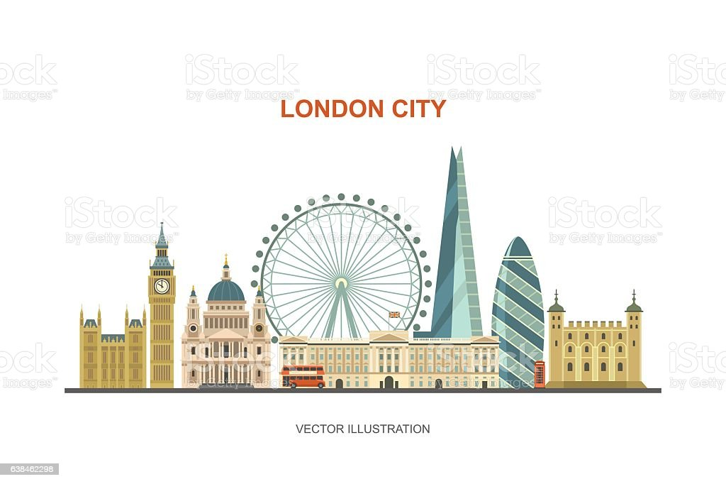 London city skyline. vector art illustration