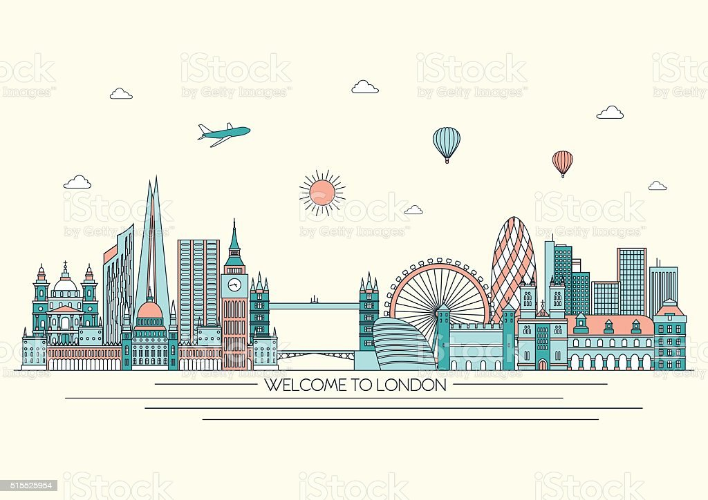 London detailed skyline. Vector background. line illustration. Line art style vector art illustration