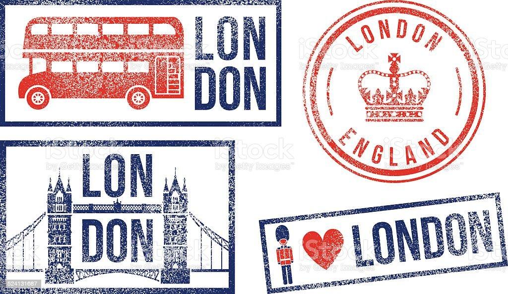 London England travel rubber stamps vector art illustration