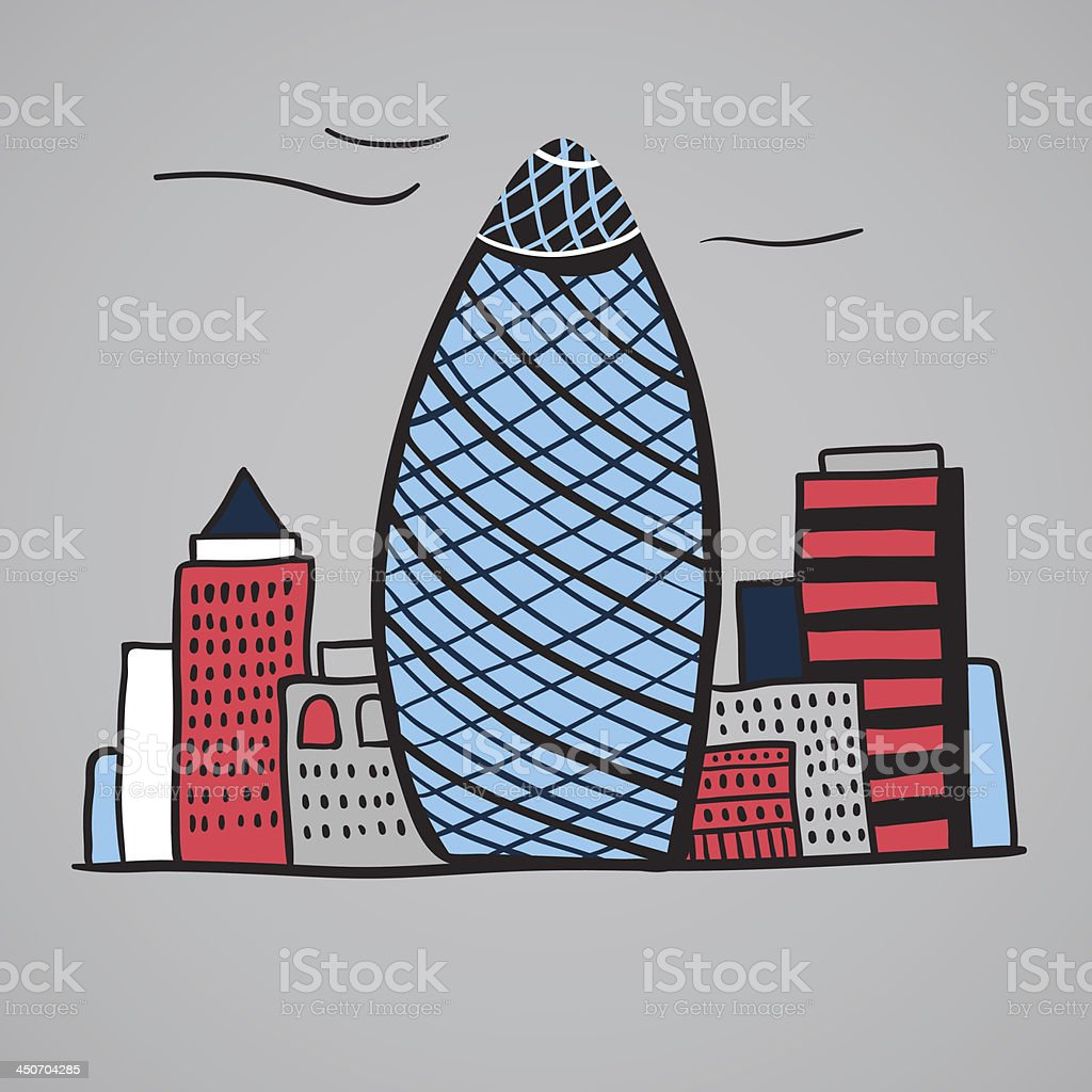 London iconic buildings illustration royalty-free stock vector art