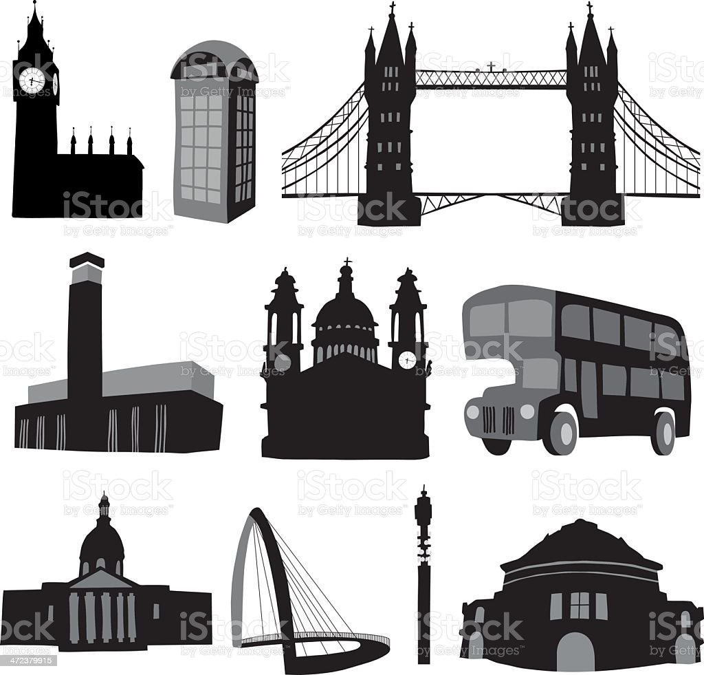 London Icons - significant buildings vector art illustration