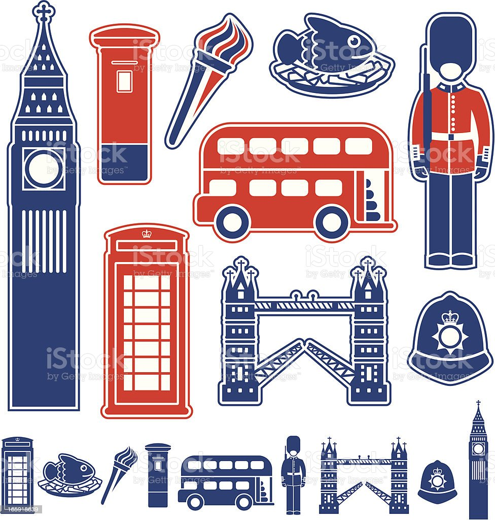 London Icons royalty-free stock vector art