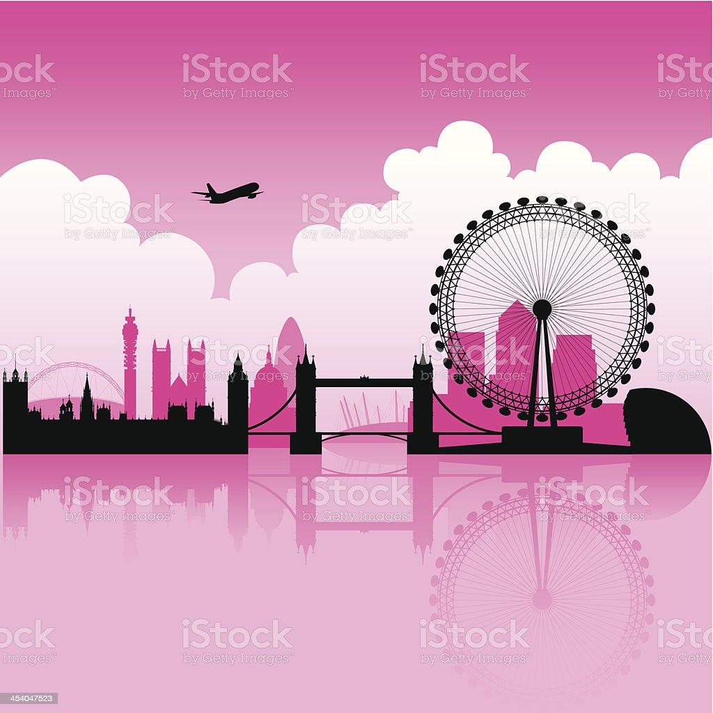 London Magenta Skyline vector art illustration