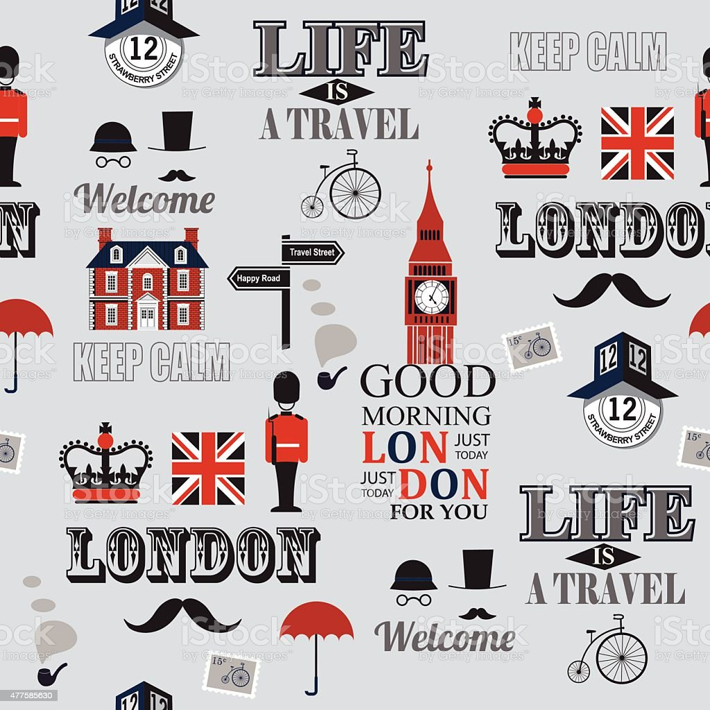 London newspaper seamless background vector art illustration