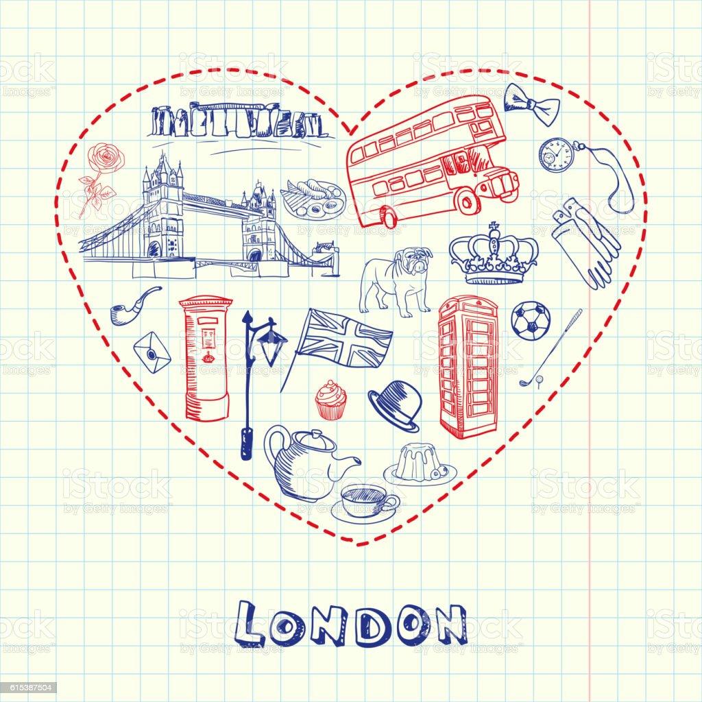London Pen Drawn Doodles Vector Collection vector art illustration
