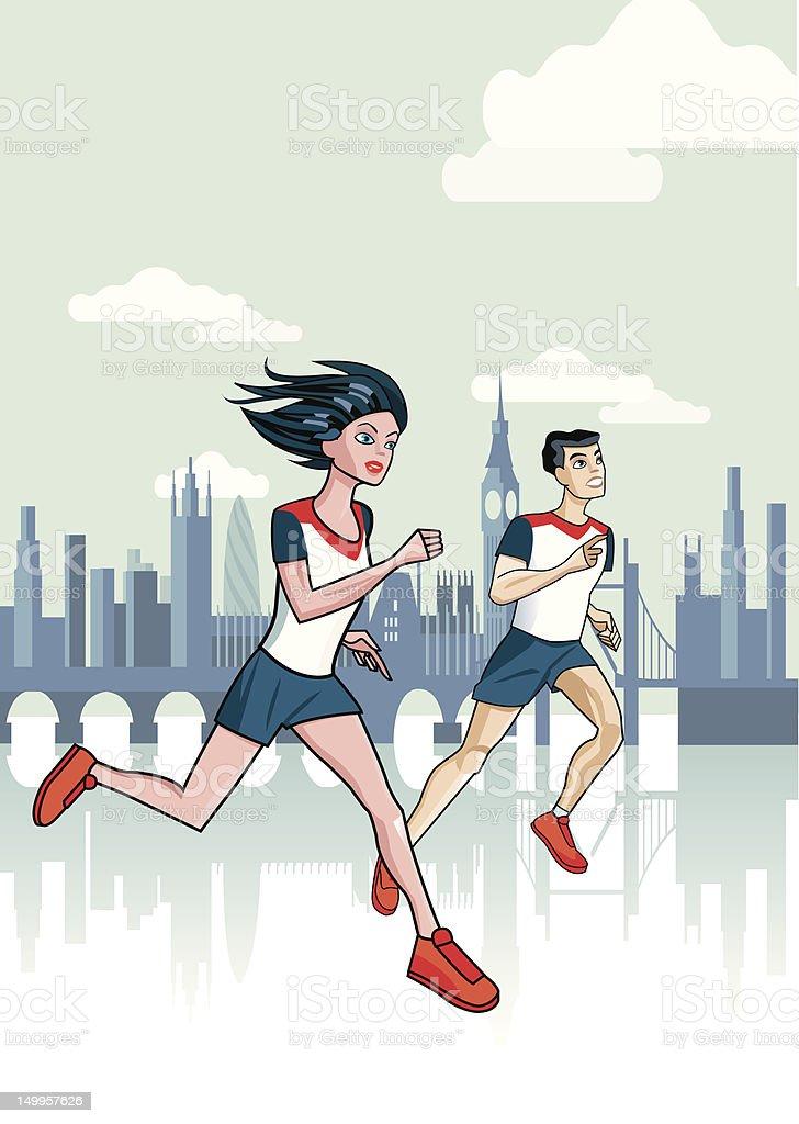 London Runners royalty-free stock vector art