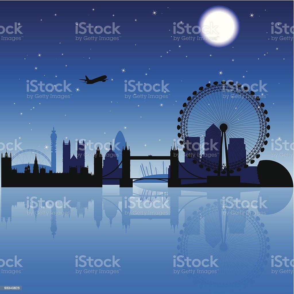 London silhouette at night vector art illustration