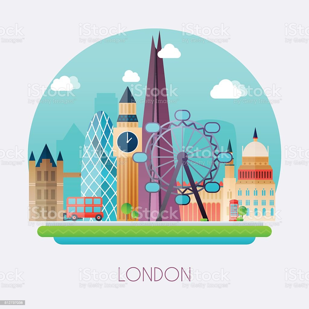 London. Skyline and vector landscape of buildings the capital of vector art illustration