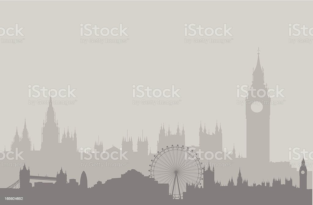 London Skyline in Gray vector art illustration
