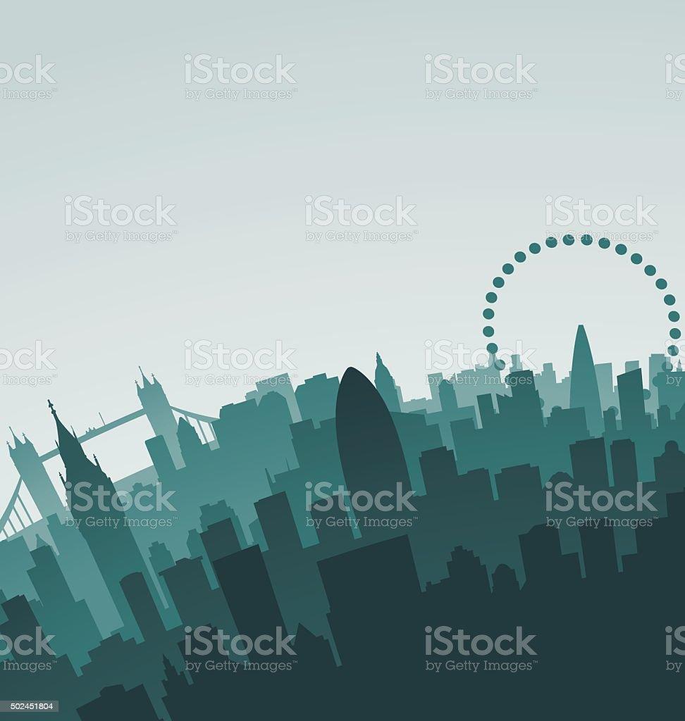 London Skyline Landmarks vector art illustration