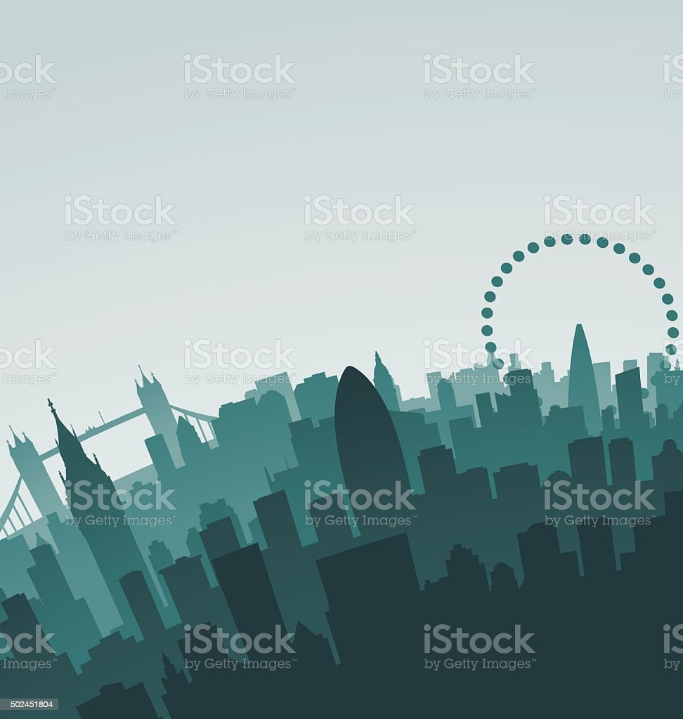 London Skyline Landmarks vector art illustration