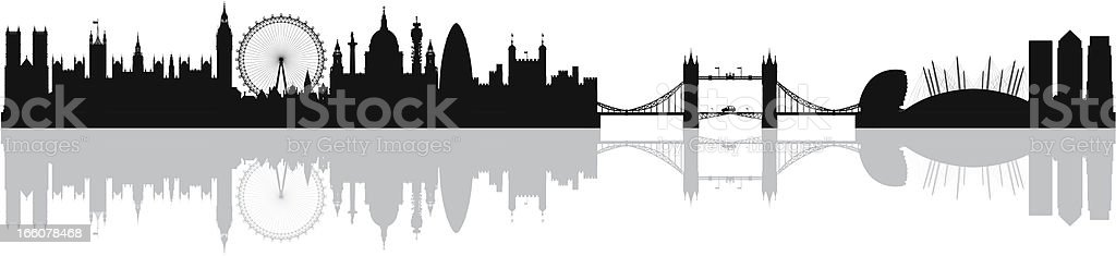 London Skyline (Complete, Moveable, Detailed Buildings) royalty-free stock vector art