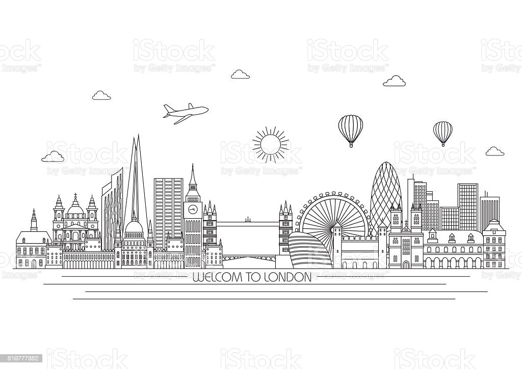 London skyline. Vector line illustration. Line style design vector art illustration