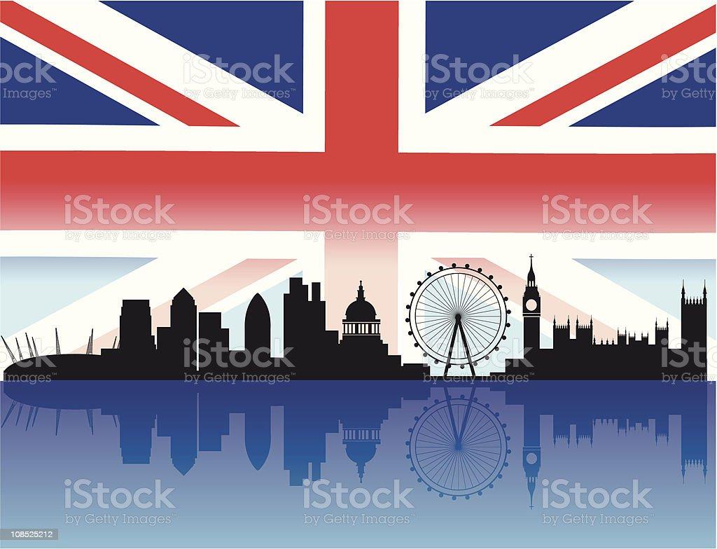 London skyline with flag background vector art illustration