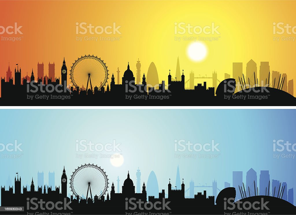 London Skylines (Buildings Are Detailed, Moveable and Complete) vector art illustration