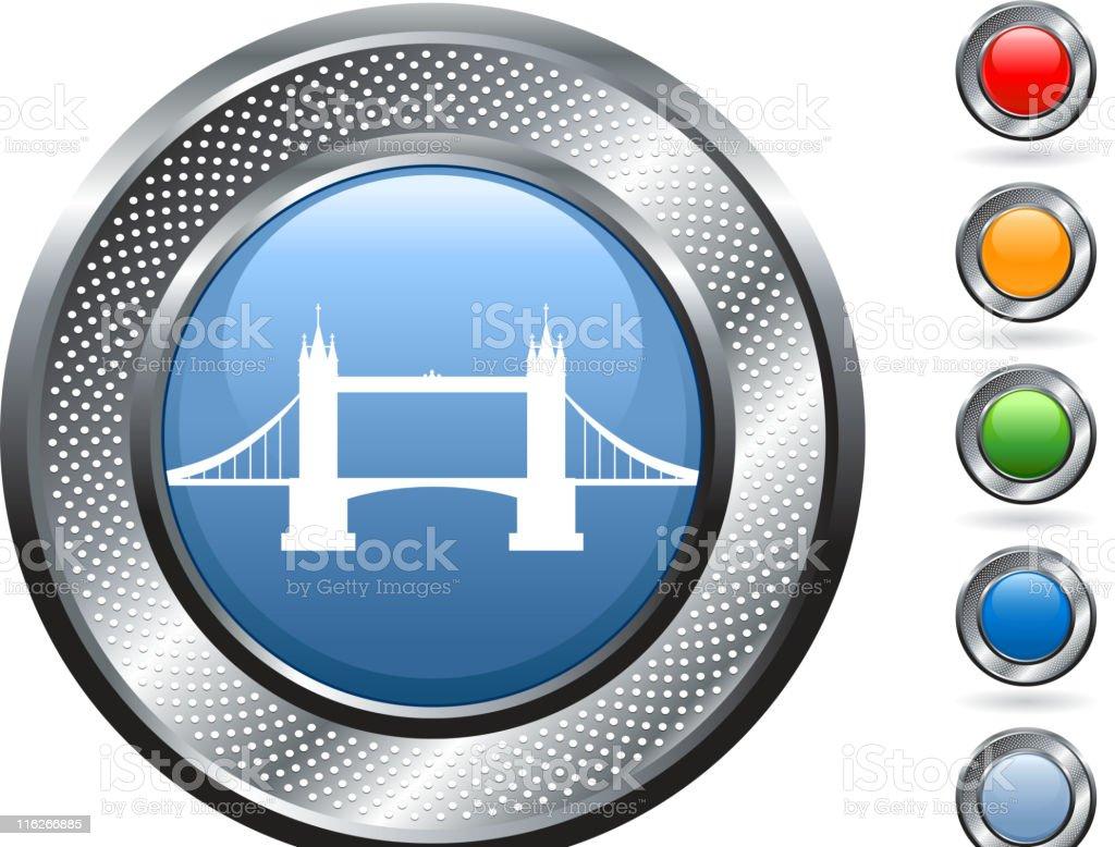 London Tower Bridge royalty free vector art on metallic button royalty-free stock vector art