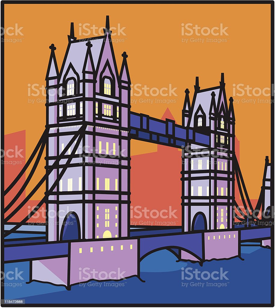 London Tower Bridge royalty-free stock vector art