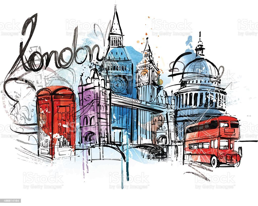 London Travel vector art illustration