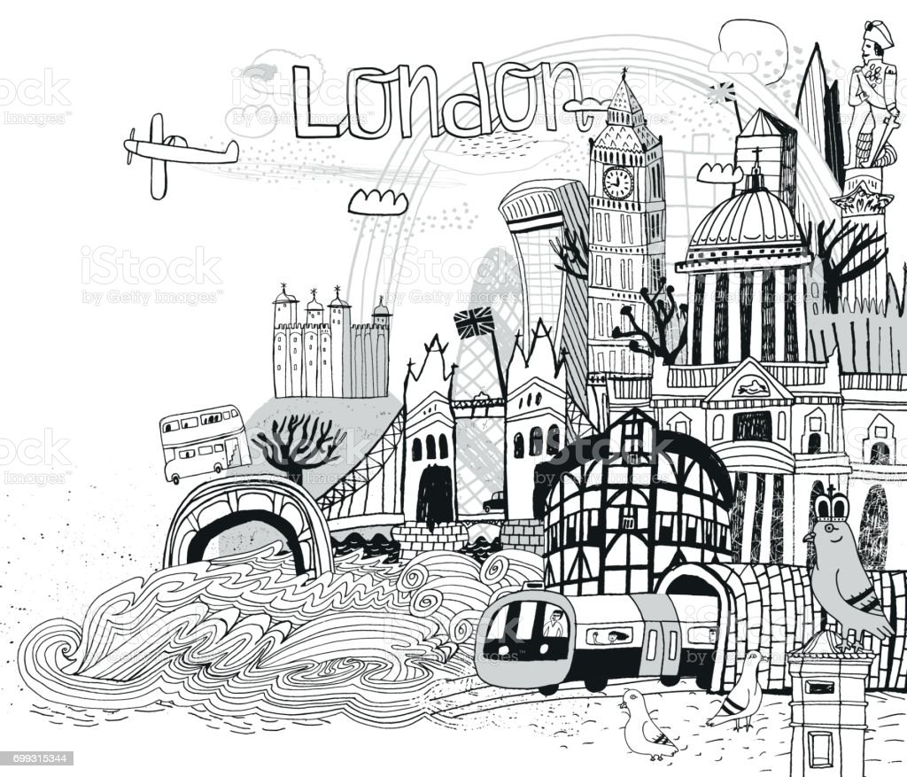 London Uk vector art illustration