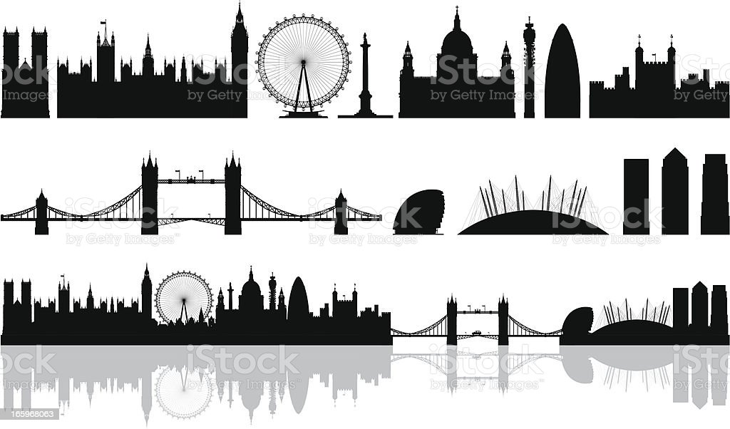 London (Buildings Are Detailed, Moveable and Complete) vector art illustration