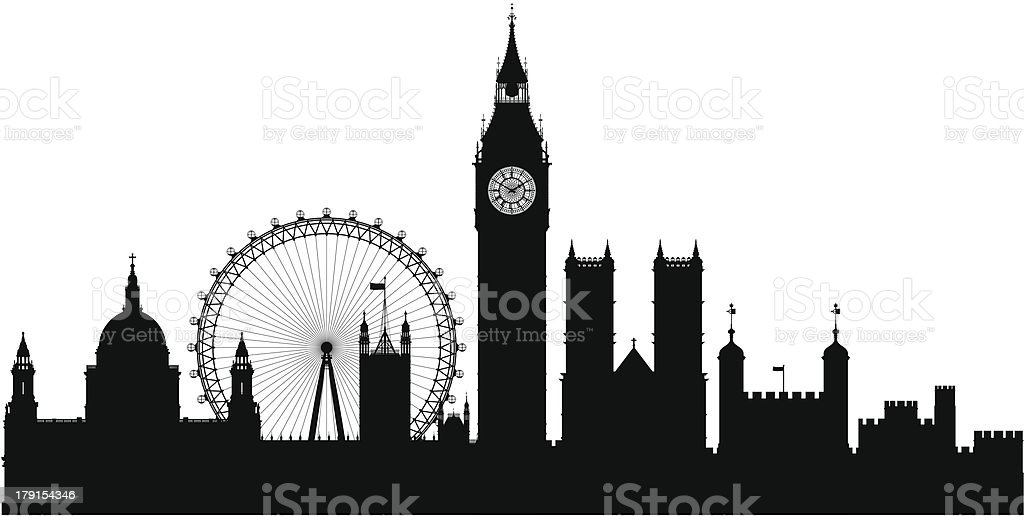 London (Each Building is Moveable and Complete) vector art illustration