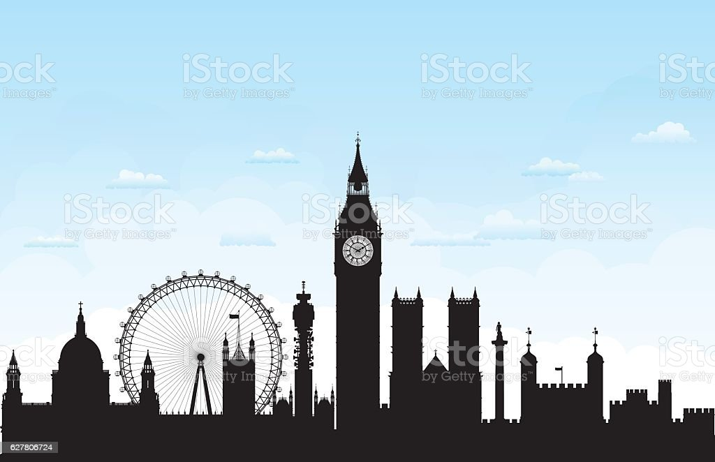 London (Buildings are Complete, Moveable and Highly Detailed) vector art illustration