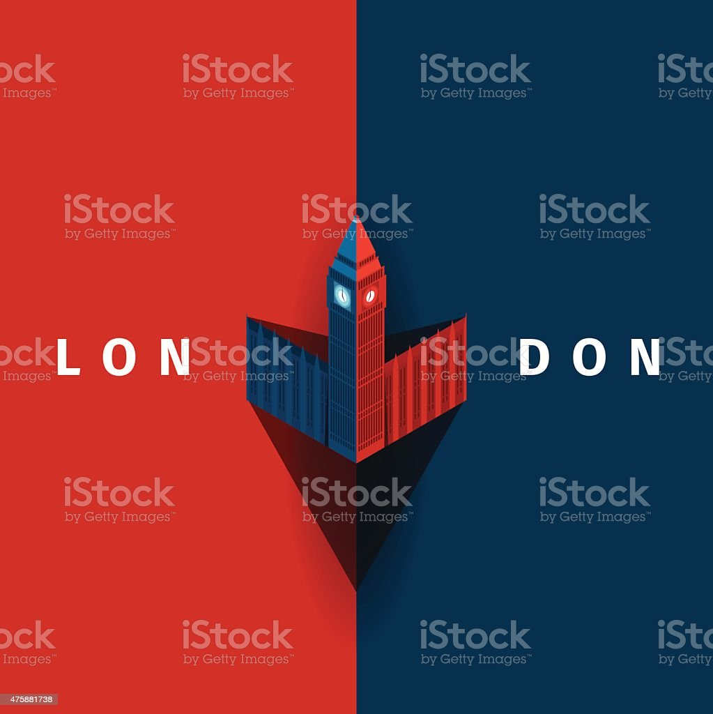 London vector poster with Big Ben in simple style vector art illustration