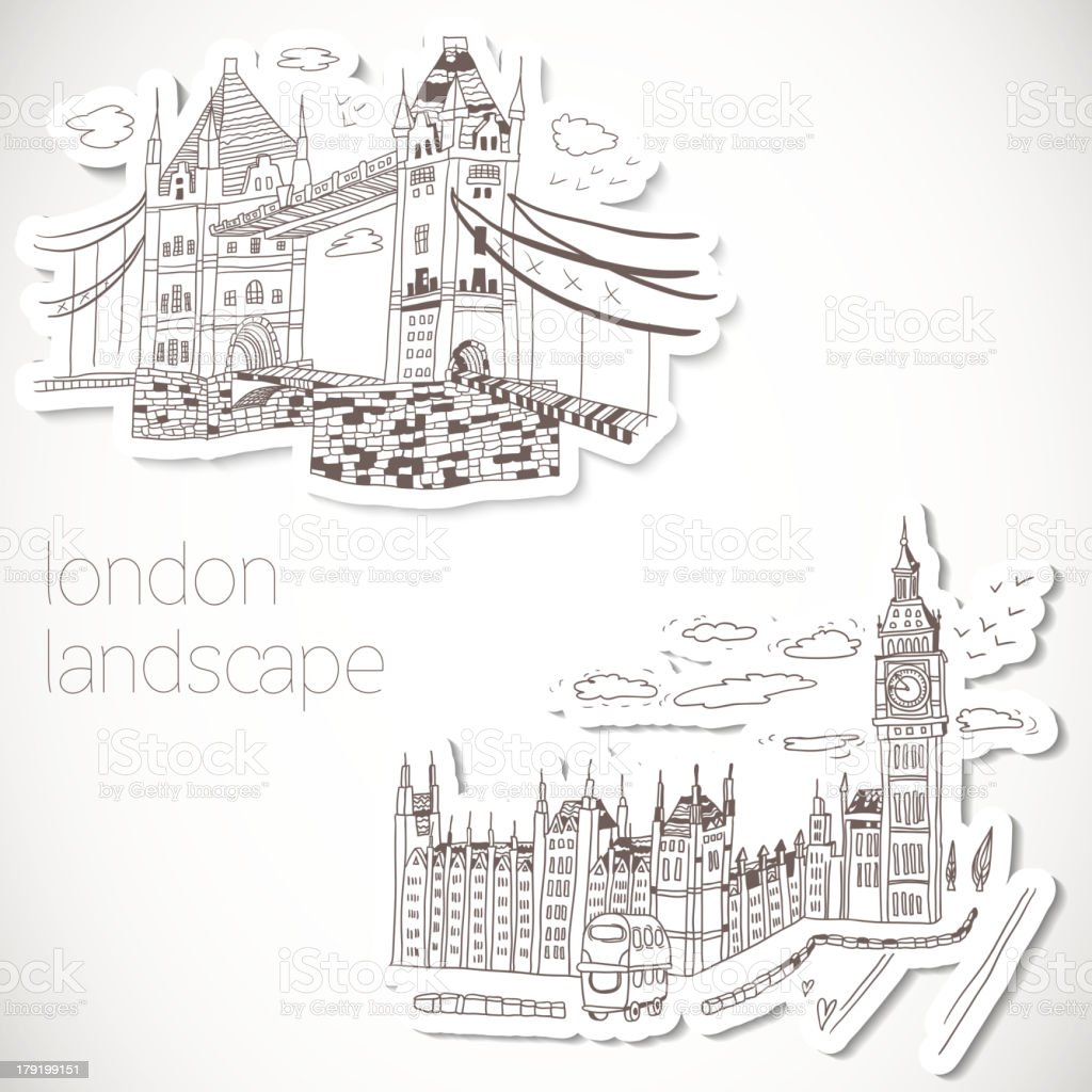London-hand drawn landscape in vintage style royalty-free stock vector art