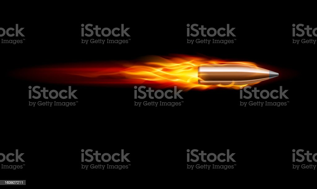 A lone bullet shooting across a black background vector art illustration