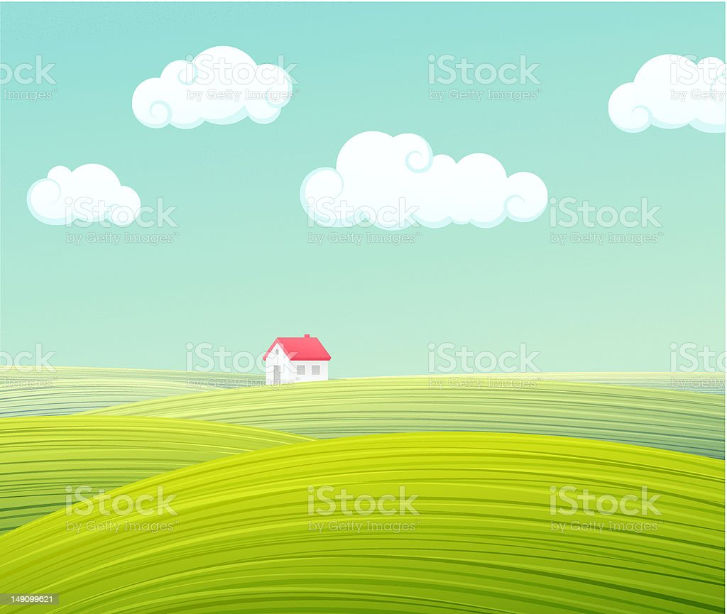 Lone house on hills royalty-free stock vector art