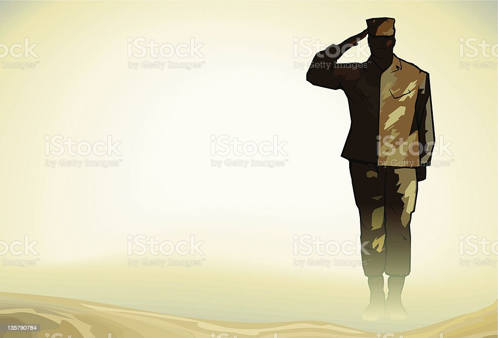Lone Soldier Salute in Desert vector art illustration