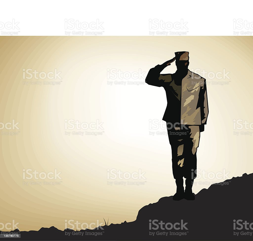 Lone Soldier Salute vector art illustration
