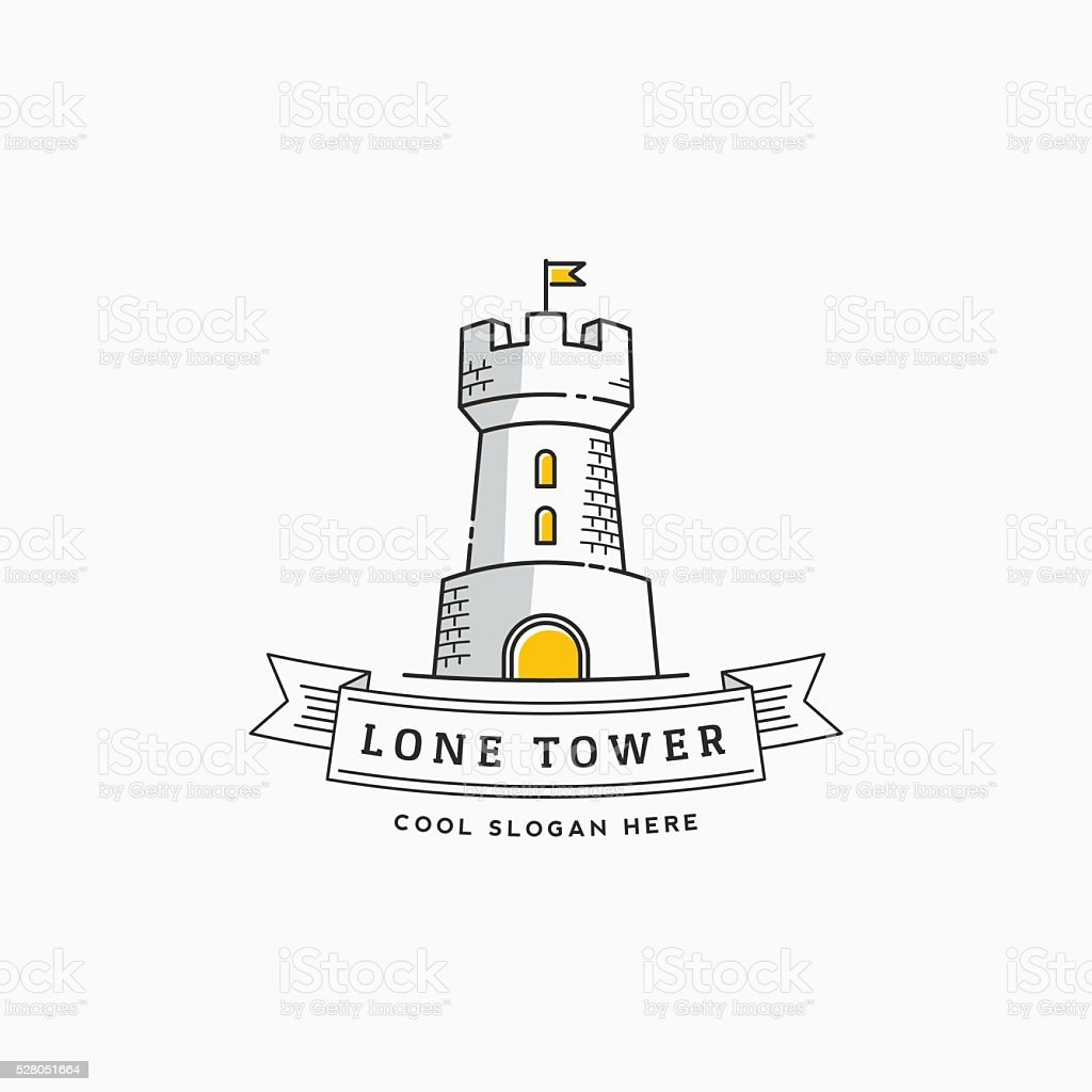 Lone Tower Abstract Vector Sign, Icon, Label or Logo Template vector art illustration