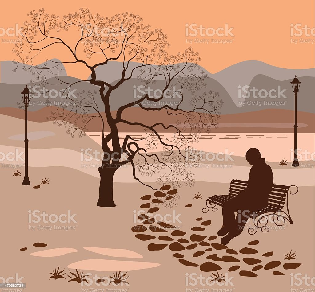 Loneliness, a walk in the park man vector art illustration