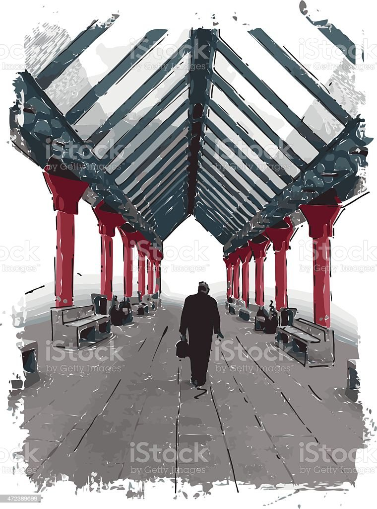 loneliness vector art illustration