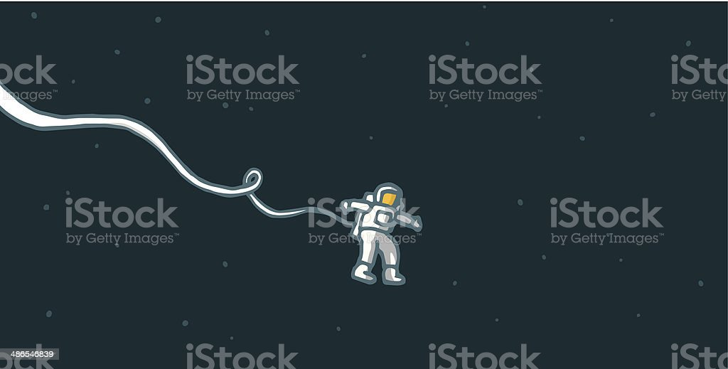 Lonely astronaut in space vector art illustration