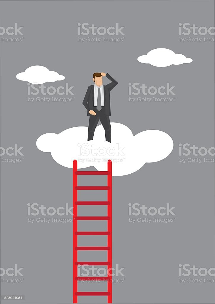 Lonely at the Top Vector Illustration vector art illustration