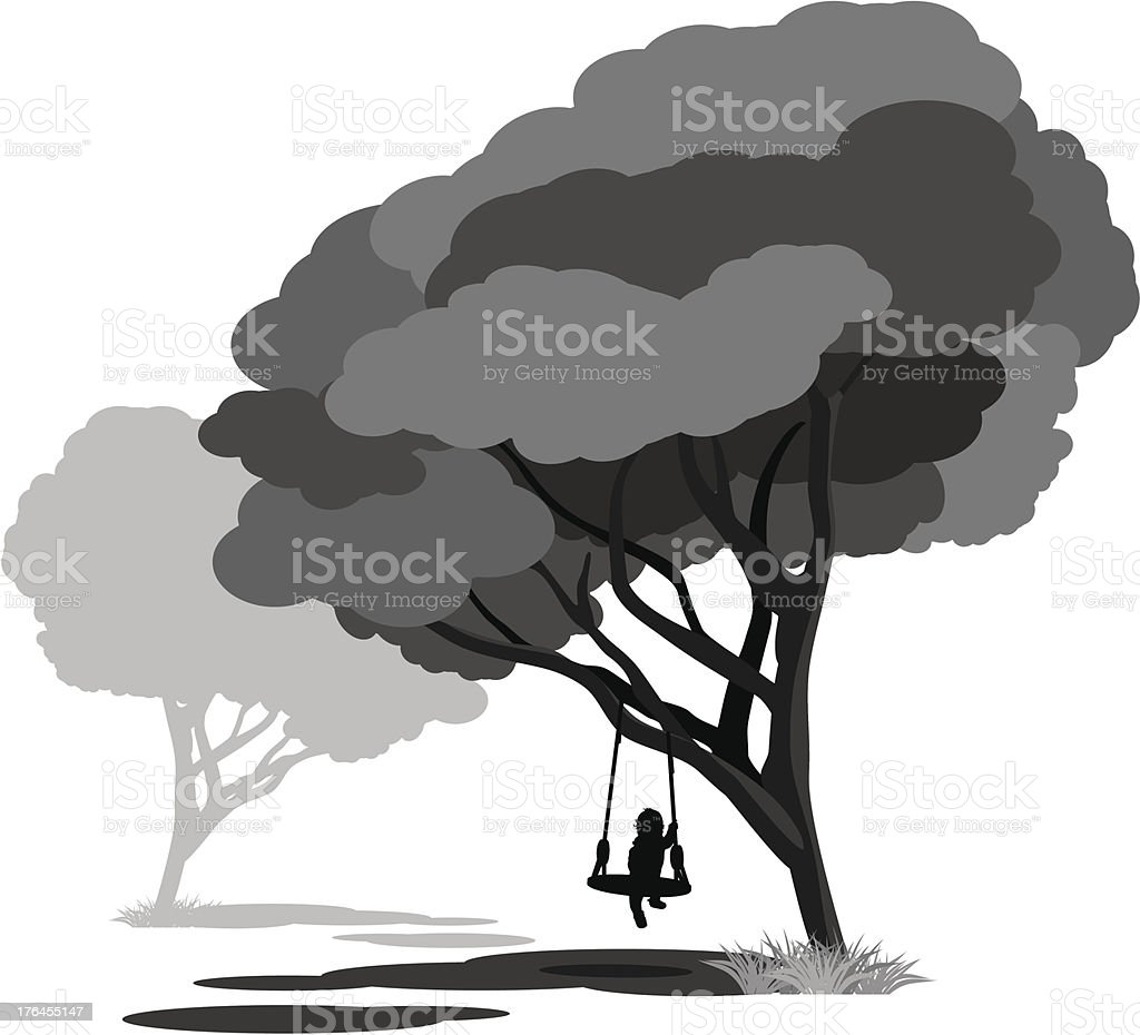 Lonely child on a swings in the park royalty-free stock vector art