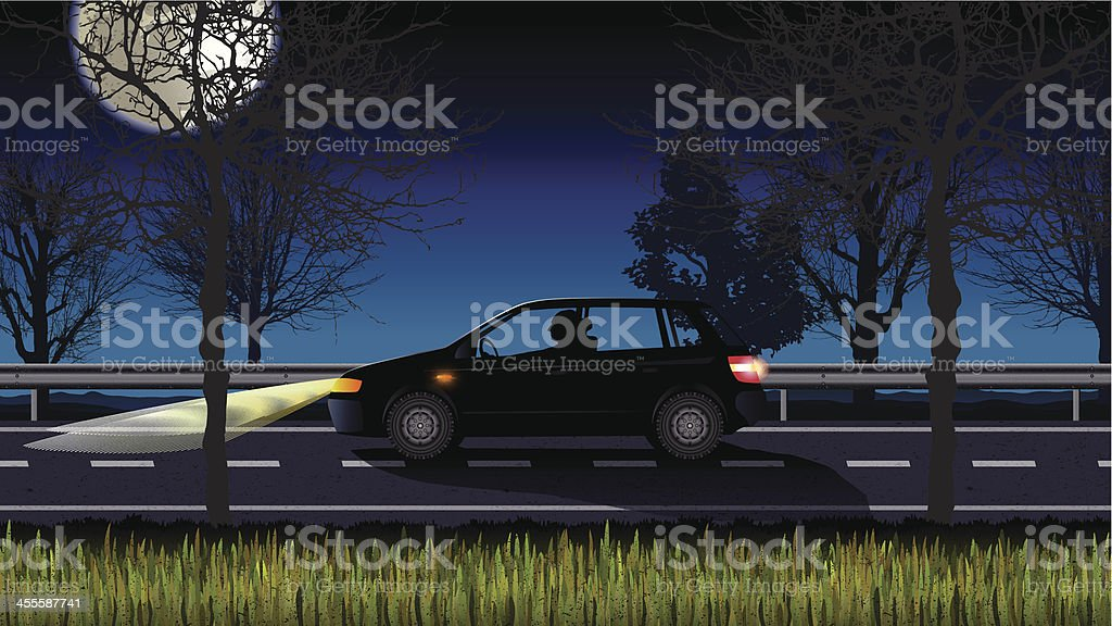 lonely driver at night vector art illustration