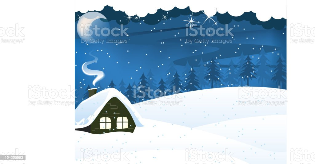 Lonely forest hut royalty-free stock vector art
