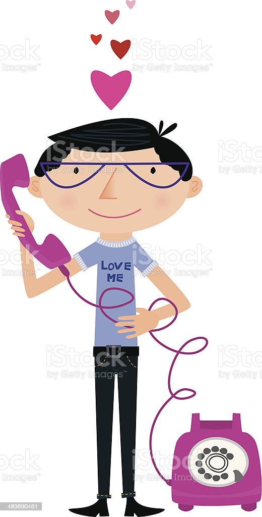 Lonely Guy with Telephone vector art illustration