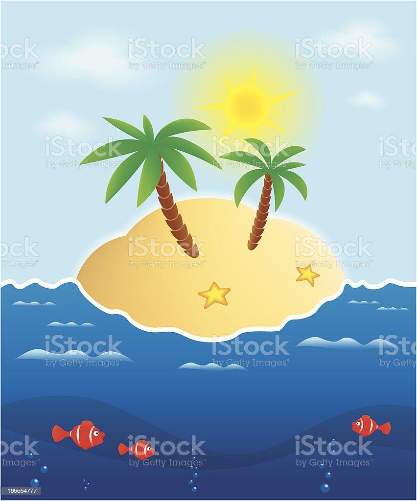 Lonely island vector art illustration