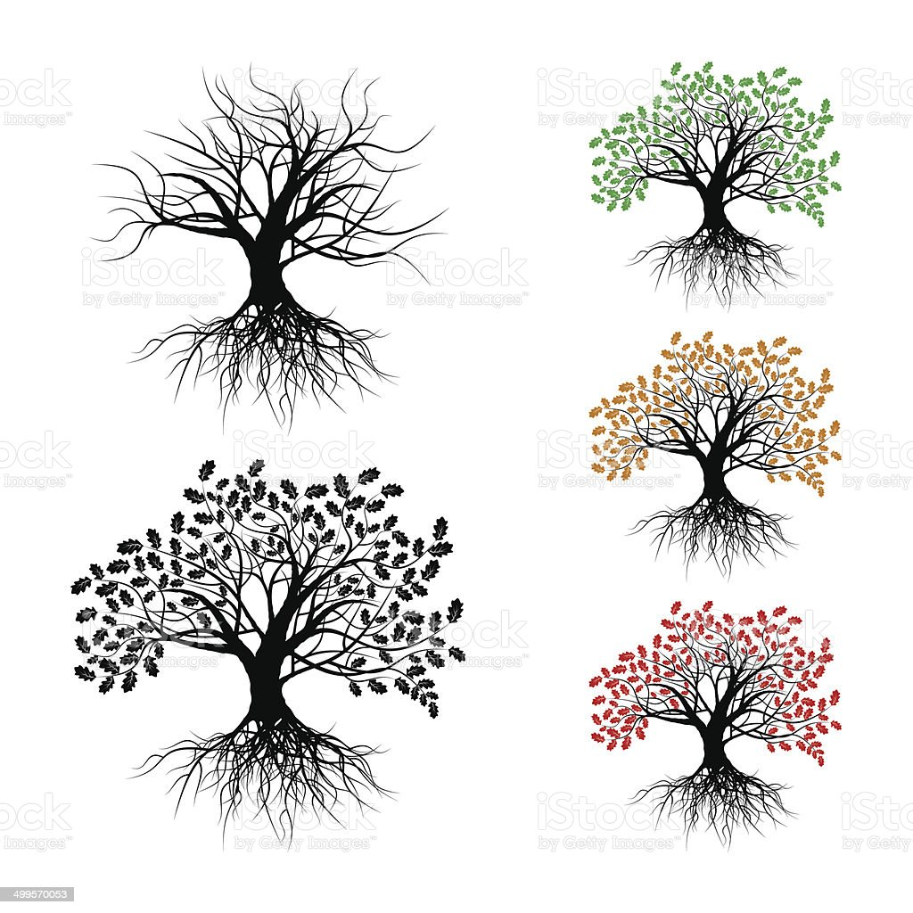 Lonely oak vector art illustration