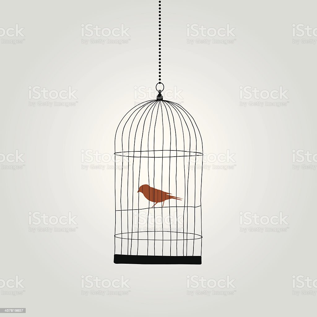 lonely red bird in birdcage. vector illustration vector art illustration
