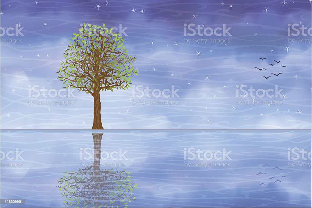 Lonely summer tree reflecting in clear blue water royalty-free stock vector art