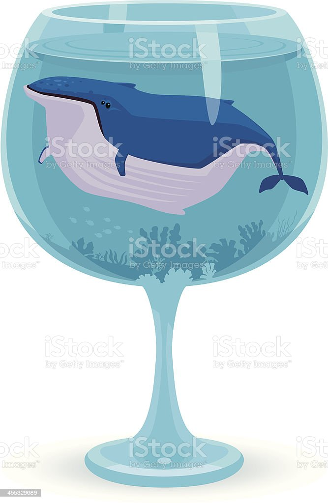lonely whale in glass vector art illustration