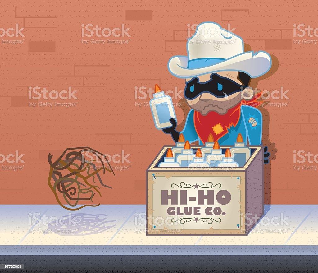 Lonesome Ranger aka the Glue Man vector art illustration