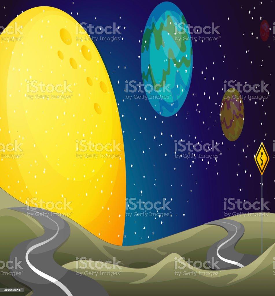 Long and narrow road royalty-free stock vector art