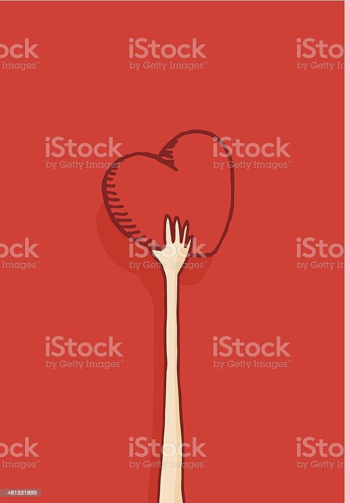 Long arm giving away his heart vector art illustration