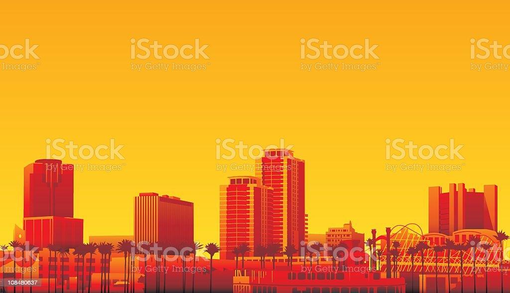 Long beach California vector art illustration